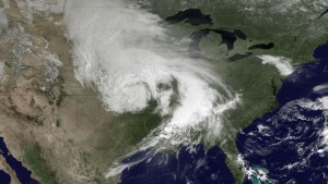 Seen from space, this is a huge line of tornado-producing thunderstorms, coursing across the eastern United States.  (National Oceanic and Atmospheric Admin.)