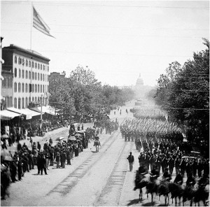 Elements of the victorious Union army march in review in Washington in 1865.  (Library of Congress)