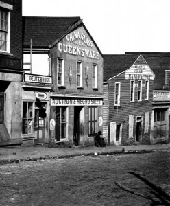 In Atlanta, Georgia, a captured store that sold glass, china, and slaves. Click on image to see front sign.  (Library of Congress)
