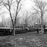 Rows of 'Wiard guns' await deployment at Washington, D.C.'s, arsenal.  (Library of Congress)