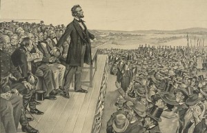 "Lincoln is depicted delivering his ""Gettysburg Address,"" far more prominently than he actually appeared in a crowd that surged around him."