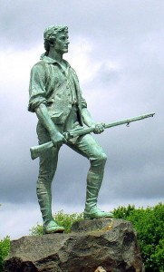 Q. 3 This Revolutionary War figure is (a) the Minuteman  (b) the Eveready Man  (c) the Jolly Green Giant  (Hohun, Wikipedia Commons)