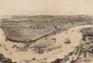 In this 1854 lithograph of a bird's-eye view of New Orleans, you can bet that some of the ships on the Mississippi carried cotton loaded by slaves.  (Library of Congress)