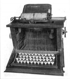 "Here's Christopher Sholes's final product -- the ""Sholes-Glidden"" machine that's very much like the typewriters millions used a century later.  (Library of Congress)"