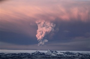 "This NASA photo shows the latest ash plume over the Grimsvoth volcano in Iceland.  The timing on ""doomsday"" was interesting, but fortunately the event was isolated and (as far as we know) did not trigger other world-ending cataclysms.  (AP Photo/Jan Gustafsson)"