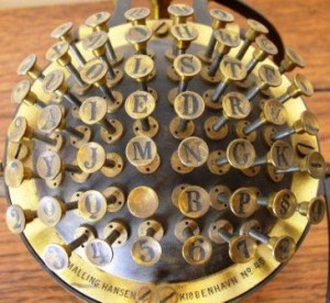 """You think the typewriter that we know is tough to master.  Try setting your fingers on the """"Hansen Writing Ball,"""" history's first production typewriter.  (Wikipedia Commons)"""