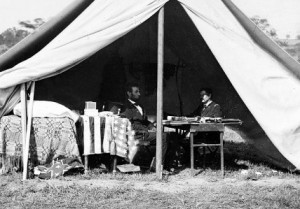President Lincoln was not bringing words of congratulation to McClellan at Antietam, despite the withdrawl of Rebel forces.  (Library of Congress)
