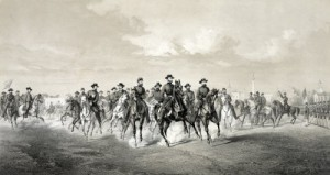 General Sherman and his men approach Savannah after a scorched-earth march across Georgia.  He did not destroy the beautiful city, however, but presented it to President Lincoln as a Christmas present. (Library of Congress)