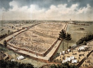 A bird's-eye view of mammoth Andersonville Prison, created after the war.  (Library of Congress)