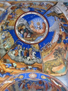 This is a depiction of the apocalypse as painted on the ceiling of an Orthodox cathedral in Macedonia.  (Wikipedia Commons)