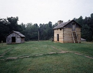 The Virginia slave cabins in which Booker T. Washington, founder of the renowned Tuskegee Institute in Alabama, was born.  (Carol M. Highsmith)