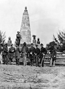 A monument to Union dead at Bull Run's TWO battles is dedicated on June 10, 1865.  (Library of Congress)