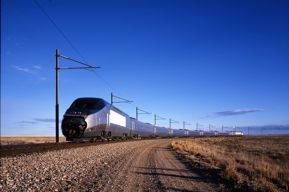 The Acela Express flashes past at the Pueblo test course.  (Carol M. Highsmith)