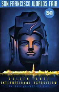 "Beneath the compelling figure that dominates the Golden Gate expo's guidebook is a depiction of its Treasure Island locale, including the ""Tower of the Sun.""  (National Building Museum)"