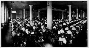 Speaking of Sears, inside its earlier headquarters building in 1913, hundreds of women processed mail orders in a space that looked more like a factory than an office.  (National Building Museum, courtesy Sears Roebuck and National Museum of American History.)