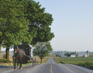 A horse and buggy approach, as safely off the high-speed portion of the road as possible.  (Carol M. Highsmith)