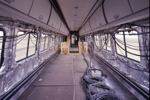 Some of the test coaches were evaluated inside without their seats and other furnishings.  (Carol M. Highsmith)
