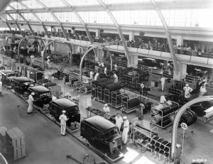 Visitors to Chicago's Century of Progress fair could watch a fully functional General Motors auto assembly line in action.  (National Building Museum; courtesy Albert Kahn Family of Companies)