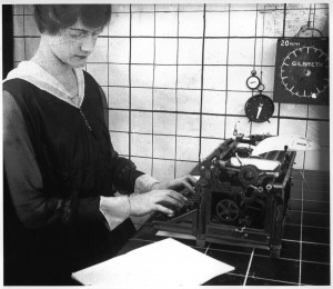 For a time-and-motion study by Frank Gilbreth, Margaret Owen demonstrates her championship typing technique in 1916.  (National Building Museum, Courtesy Gilbreth Collection, National Museum of American History.)