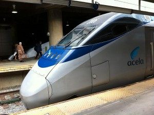 The aerodynamic Acela Express seems to sneak, rather than rumble, into stations.  (Nicholas STAMBACH, Wikipedia Commons)