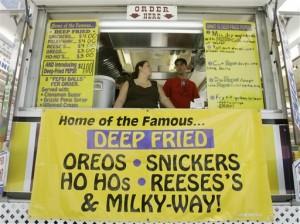 Indiana Fair fried fare.  If it's sweet, they'll deep-fry it.  (Darron Cummings/AP)