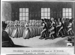 Rows of Shakers, separated by gender, performing a dance step in New Lebanon, New York. (Library of Congress)