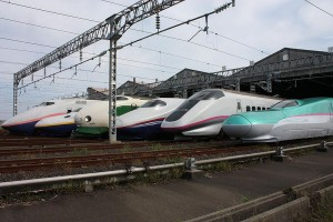 Japan's Shinkansen bullet trains of all sorts line up at the Niigata Depot.  (DAMASA, Wikipedia Commons)