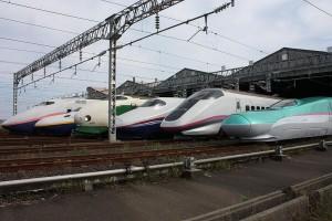Japan's Shinkansen bullet trains of all sorts line up at the Niigata Depot.  (DAMASA, Wikipedia Commons)