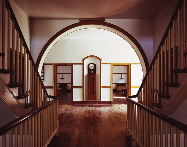 A beautiful hallway in the residence hall at the Shakertown settlement in South Union, Kentucky.  The separate lead to separate men's and women's sleeping quarters.  (Carol M. Highsmith)