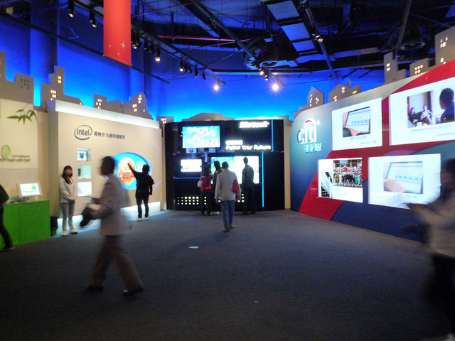 These U.S. pavilion displays at the 2010 world expo in Shanghai have a corporate look to them, all right.  (T. Chen, Flickr Creative Commons)