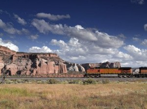Long, LONG freight trains, but almost no passenger ones, are a part of the scene on America's western plains.  (Carol M. Highsmith)