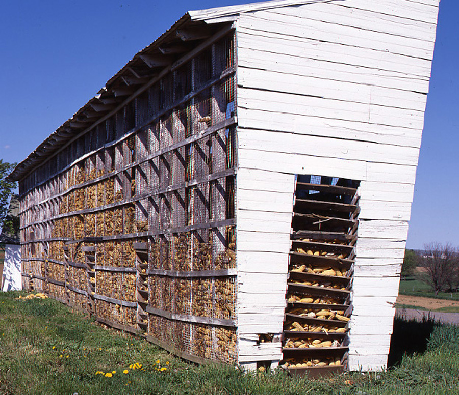 Note the simplicity and effective air flow of this Amish corn crib.  (Carol M. Highsmith)