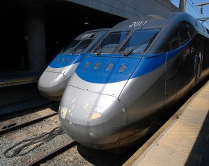 These Acela Express twins almost look like something hauled up out of the briny deep.  (Kevin H., Flickr Creative Commons)