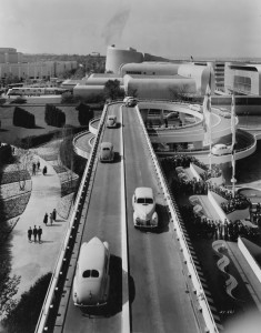 "Fairgoers could take a spin on Ford's ""Road of Tomorrow."" (From the Collections of The Henry Ford, Copy and Reuse Restrictions Apply)"