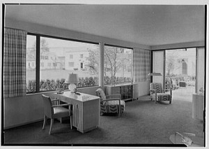 "This sunny living room of the ""House of Glass"" at the '39 New York Expo looks a little spartan today.  But it seemed refreshingly airy and stylish to many visitors at the time.  (Library of Congress)"