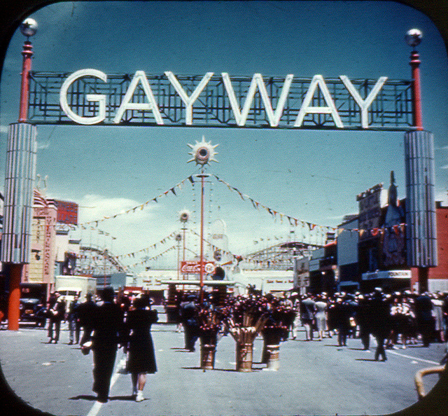 A lot of the Golden Gate fair visitors found their way to Sally Rand's emporium once they passed under this sign.  (TunnelBug, Flickr Creative Commons)