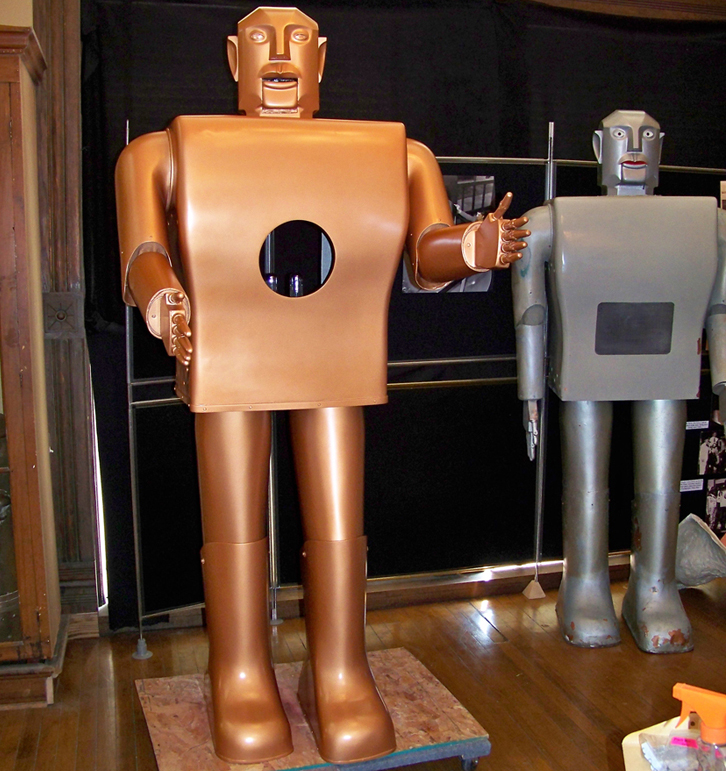 "I saved ""Electro the Moto-Man"" for last.  He was a hit at the New York fair, in which mechanical servants were part of the vision of the future.  The Westinghouse robot walked, spoke 700 words, blew up balloons, even smoked.  But he didn't do dishes.  (National Building Museum)"