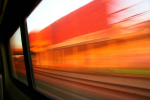 Want to take a photo out the window of the Acela Express?  You can, but don't expect much to be in focus.  (A. Strakey, Flickr Creative Commons)