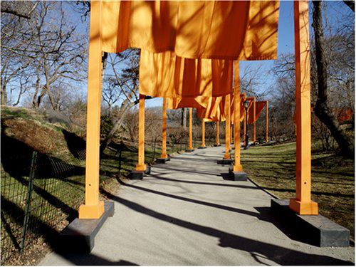 "Christo and Jeanne-Claude's ""Gates"" brightened the drab winter landscape of Central Park.  (Carol M. Highsmith)"