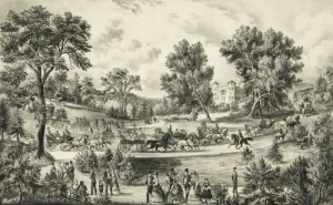 "Currier and Ives's depiction of the park's ""Grand Drive"" in 1869.  (Library of Congress)"