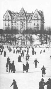 Skaters before The Dakota, which stood out alone and prominently in uptown Manhattan when this was taken in the 1880s.  (Library of Congress)