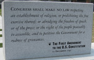 Here are the simple but powerful words of the First Amendment.  (elPadawan, Flickr Creative Commons)