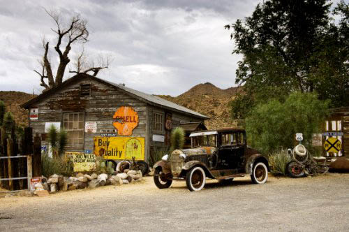 That cut-off loop of U.S. 66 is ALMOST deserted, but not quite.  This charming vestige of yesteryear is in what's left of Hackberry, Arizona.  (Carol M. Highsmith)