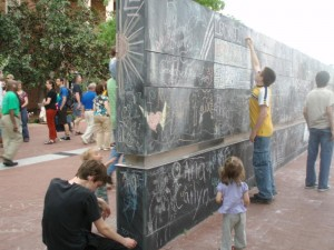 Not just expressiveness but also creativity are often displayed on Charlottesville's Freedom of Expression Monument.  (charlottesvillecarol@gmail.com)