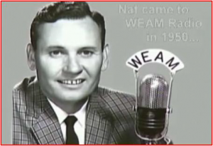 Nat at station WEAM in Arlington, Virginia.  The station is defunct now, but its call letters exist at medium-wave and FM stations in Georgia.  (WEAM Archive)