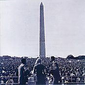 PP&M at the Lincoln Memorial, facing a sea of faces and the Washington Monument.  (Library of Congress)
