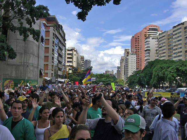 The quest for free speech continues worldwide.  This crowd in Caracas, Venezuela, was protesting the closure of television station whose coverage angered the ruling regime.  (andresAZP, Flickr Creative Commons)