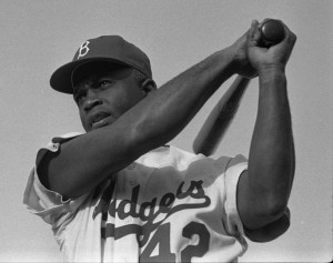 Baseball and civil-rights hero Jackie Robinson.  (Jimbo Boomis, Library of Congress collection, LOOK magazine)