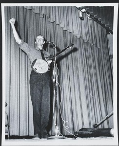As I told you in a recent posting about folk music's troubadours, Pete Seeger, shown here as a young labor-song performer, is still at it at age 92.  (Library of Congress)