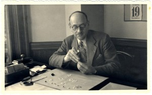 Marcel Ginsburg, Jane's grandfather, sorts diamonds.  The diamond business goes back many generations in her family, to Antwerp and beyond. (courtesy, Jane Friedman)